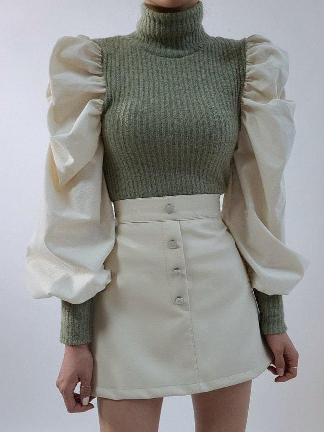 Design Fall Spring Ruched Puff sleeve Knitted Patchwork Wild Blouse