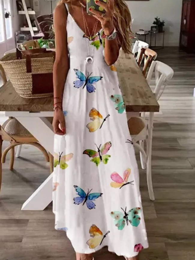Butterfly Print Women V-Neck sleeveless  Camisole Sexy Long Dress