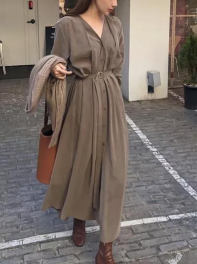 New Spring Women V-neck Single-breasted Long Dress Female