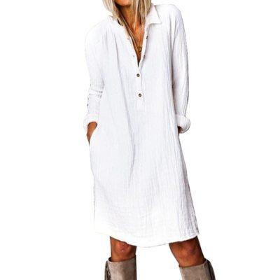 Fashion Spring Autumn Women Dress Cotton and Linen Casual Turn-down Collar