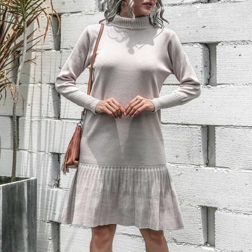 Turtleneck Warm knit dress Loose Solid Color Hem Ruffles Bottoming