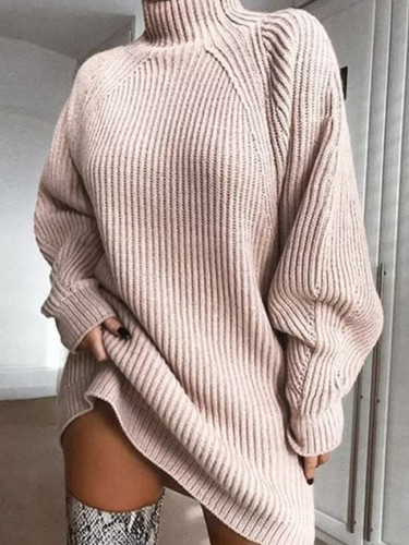 Women Turtleneck Knitted Sweater Dress Autumn Winter Casual Loose