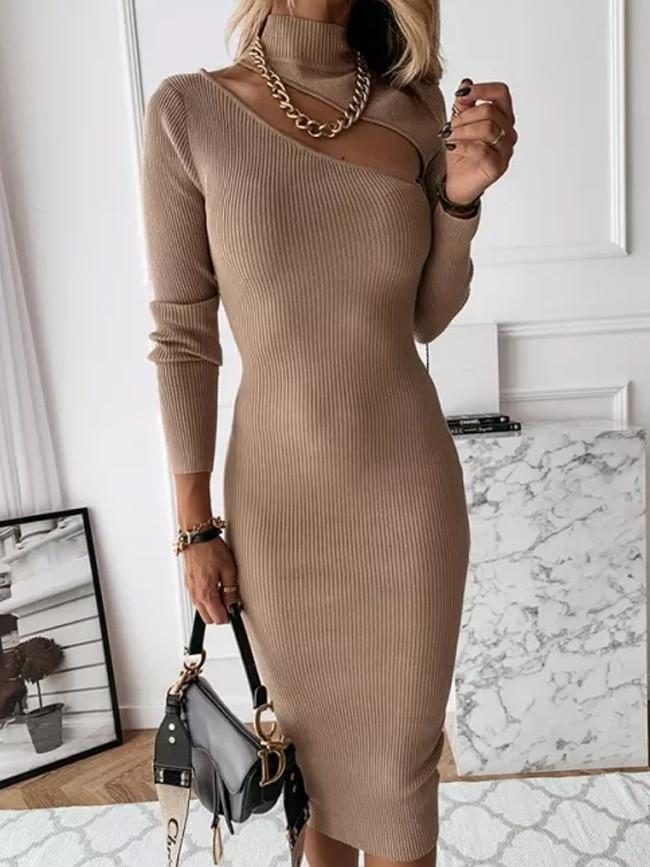 Autumn Slim Turtleneck Long Knitted Dress Women  Long Sleeve Hollow Out Sheath