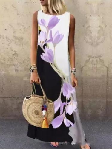 Printing Sexy Dress Casual Linen Loose Sleeveless printed Long Maxi Dress