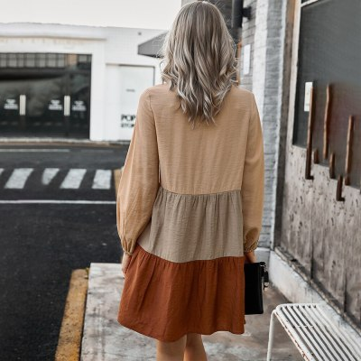 Autumn Spring Fashion Casual Ladies Patchwork Button Ruched Loose Dresses