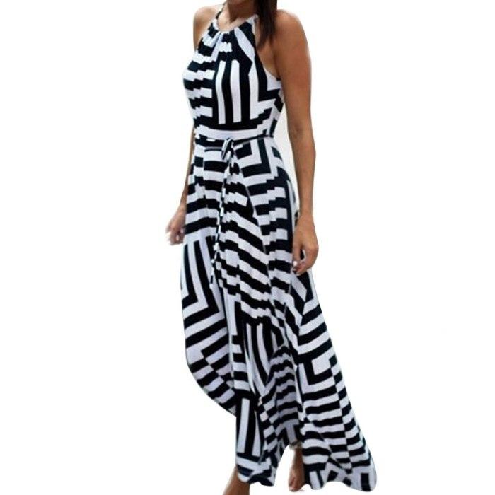 Women Evening Party Beach Sundress Ladies Loose Striped Long Dress