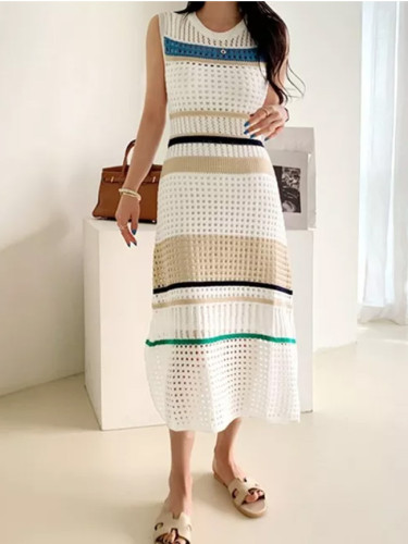 Chic Elegant knitting Hollow out knitted stretch Vintage Stripe Dresses