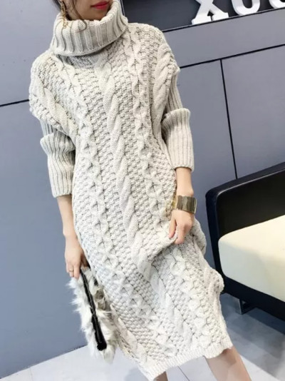 Turtleneck Warm Long Sweater Women Long Sleeve Knitted Pullover