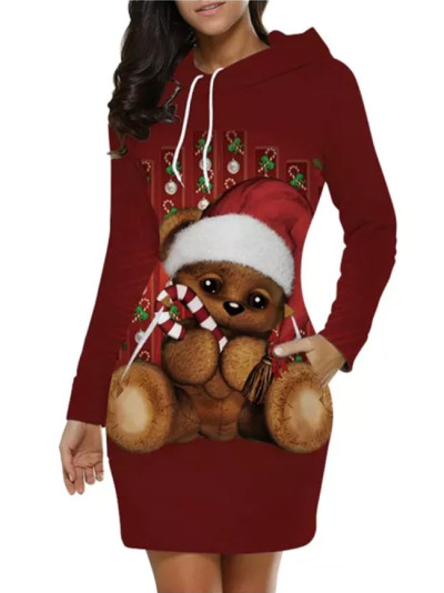 Fashion Long Sleeve Hooded O-Neck Christmas Santa Claus Dress