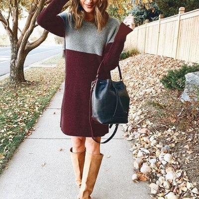 Autumn Winter Fashion Warm Long Sleeve Jumper Loose Fleece Sweater Dress