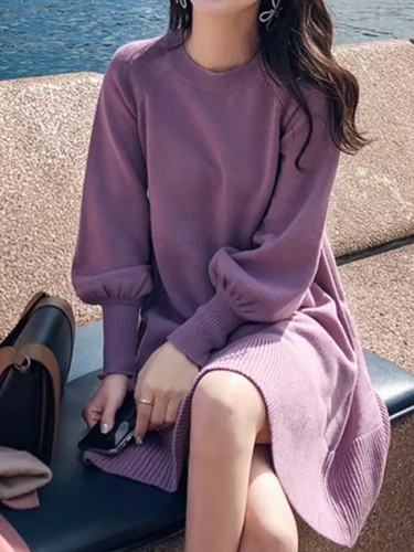 Autumn Knitted Dress O-neck Lantern sleeve A-line Loose Short Dress