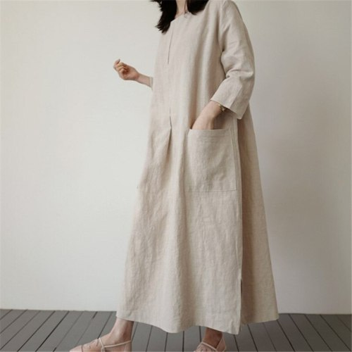 Round Neck Linen And Cotton Pocket Pullover Loose Long Dress