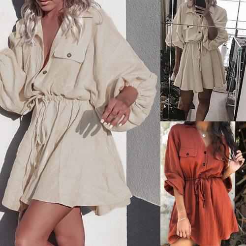 Fashion Lantern Sleeve Short Dress Lace up Belt Cotton linen Dress