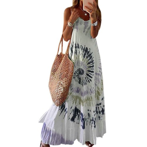 Printed Tie Dye Maxi Dress Casaul Loose