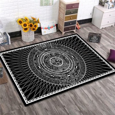 Sun God Totem Black Floor Corridor Area Rugs Living Room Carpet