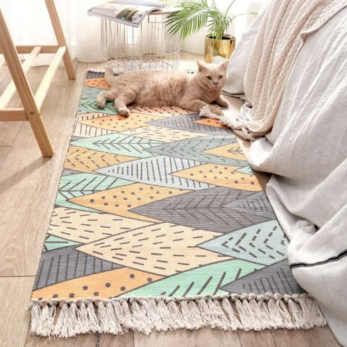 Bohemian Hand Tassel Woven Cotton Linen Carpet Retro Bedside Geometric Floor Mat Long Rug