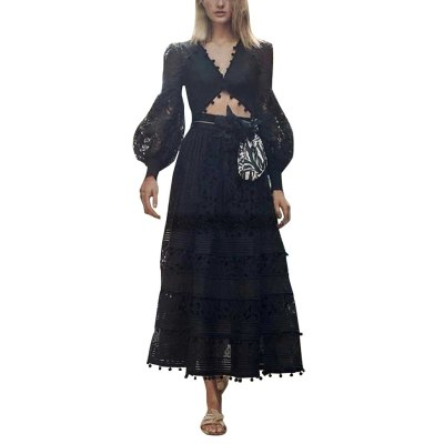 Bohemian Solid Color Long Sleeve V Neck Lace Hollow Out Casual Maxi Dress