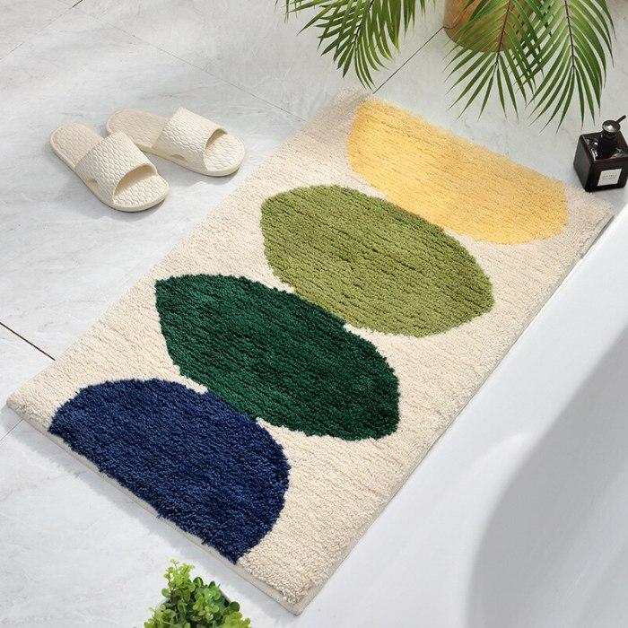 Lemon Leaf Soft Fluffy Flocking rug Nordic Style Colorful Rug