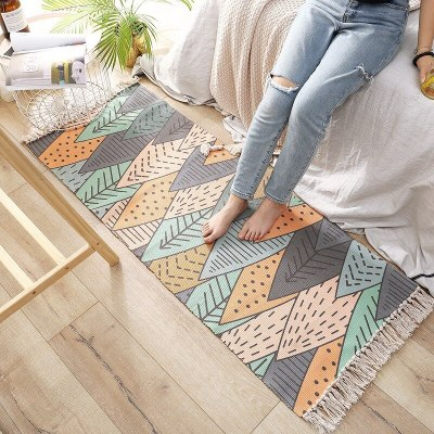 Bohemian Hand Tassel Woven Cotton Linen Carpet Retro Bedside Geometric Floor Mat Long Rug