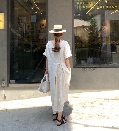 Summer Dresses V-neck Solid Color Short Sleeve Dress Women