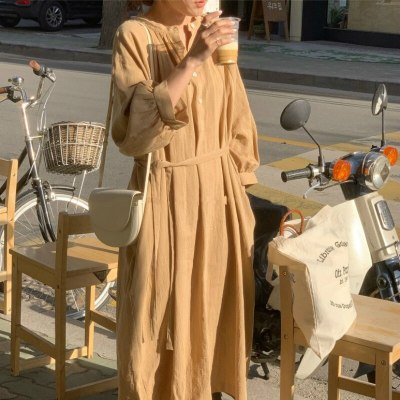 Women Spring Summer Cotton Linen Loose Long Shirt Dress