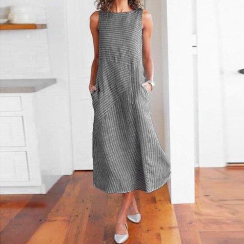 Summer Dress Women Striped Sleeveless O Neck Linen Maxi Dresses