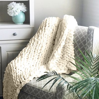 Chenille Chunky Knitted Blanket Weaving Blanket Mat Throw Chair Decor Warm Yarn Knitted Blanket