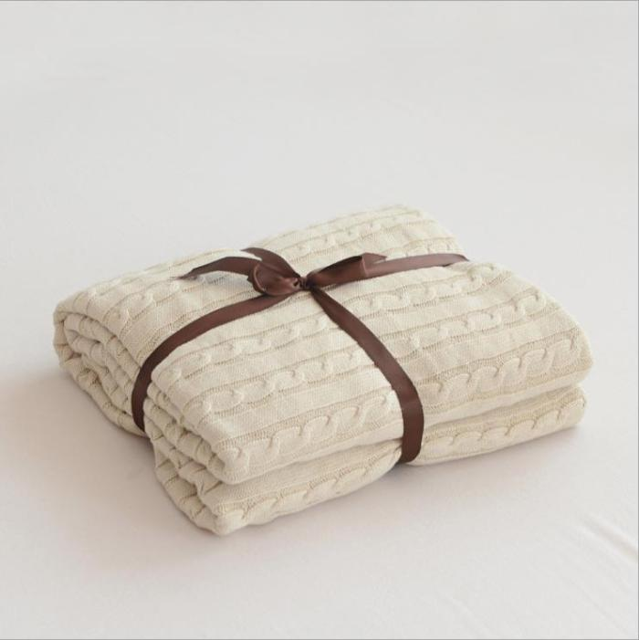 Solid Color Blankets Beds Cover Soft Bedspread Bedding Knitted Blanket