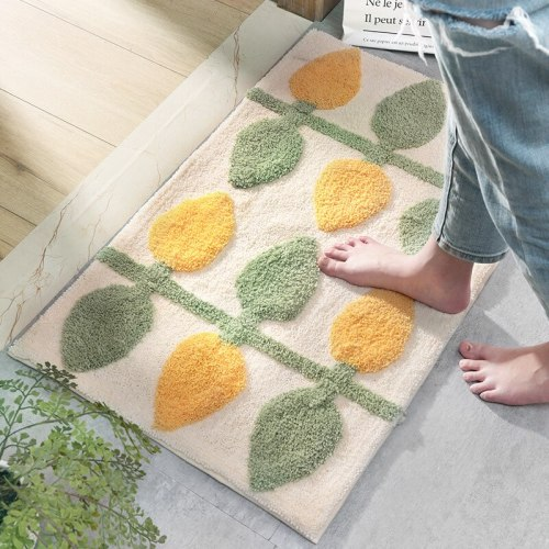 Lemon Leaf Soft Fluffy Flocking rug Nordic Style Colorful Rug