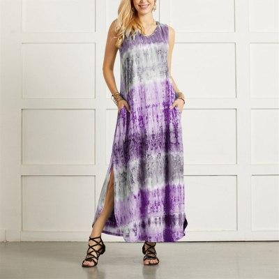 Tie-dye Dresses Split Irregular Hem V-neck Sleeveless Dress