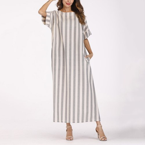 Boho Striped Summer Dress Cotton Linen Casual Loose Maxi Dress