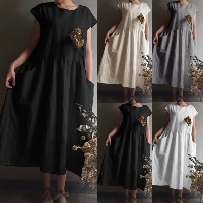 Vintage Linen Pleated Long Shirt Sundress Casual Short Sleeve Loose Dress