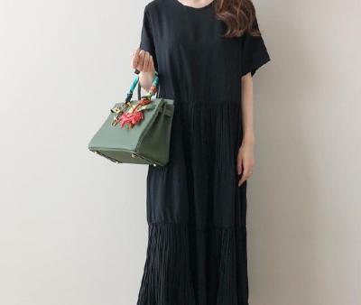 Round Collar Cascading Ruffle Loose Cotton Linen Sundress Solid Color