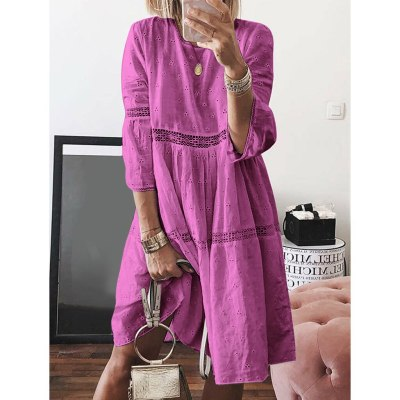 Crew Neck Dresses Hollow Out Splice 3/4 Sleeve Long Dresses