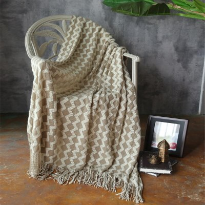 Wavy Stripes Knitted Blanket Home Sofa Throw Blanket