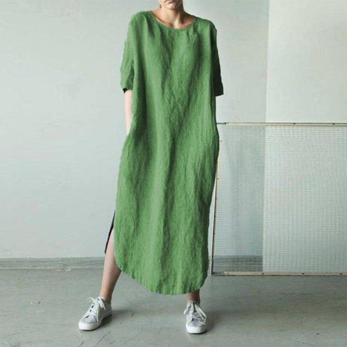 Women Solid Color Cotton and Linen Long Sleeve O-Neck Fold Casual Dress