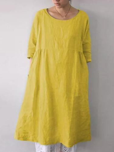 Linen Dress Half Sleeve Sundress Fashion Female Shirts Dress