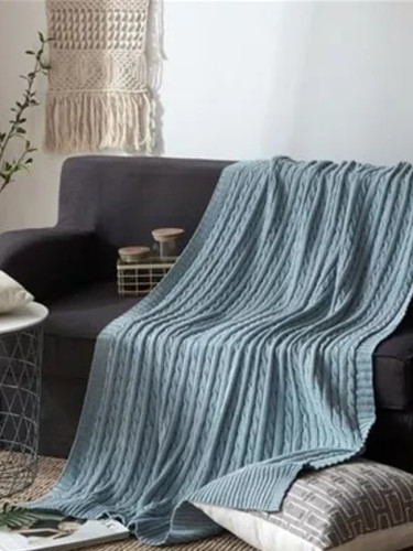 Cotton Blanket Chunky Knit Blanket Sofa Blanket Blankets for Beds