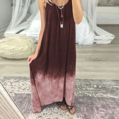 Women Casual Tie-dye Print Sleeveless O-Neck Big Hem Dress