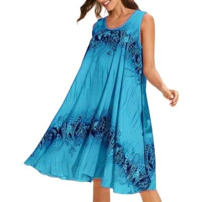 Vintage Printed Casual Ladies Sleeveless Dresses