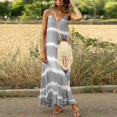 Casual Sleeveless Gradient Tie-Dye Striped V Neck Loose Maxi Dress