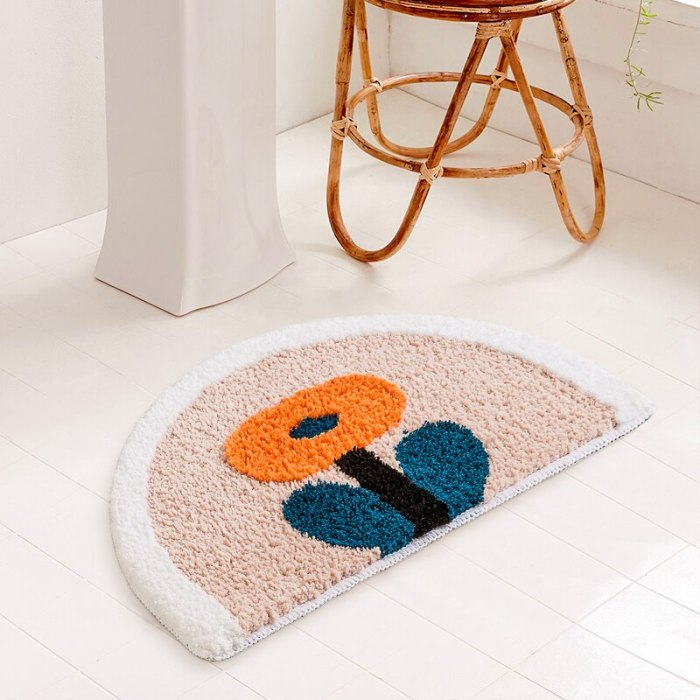 Simple Bathroom Floret Carpet Flower Rugs House Entrance Carpets thickened