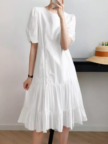 Casual O Neck Solid Color Short Sleeve Dresses