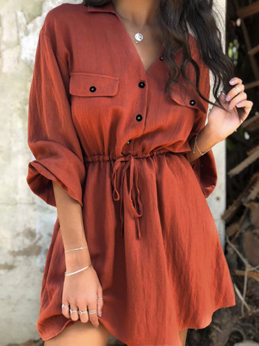 Fashion Lantern Sleeve Short Dress Lace up Belt Cotton linen Dress