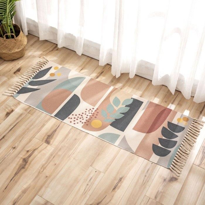 Fruit geometric print Cotton Linen Tassel carpet Long Nordic Non Slip Bath Foot Pad