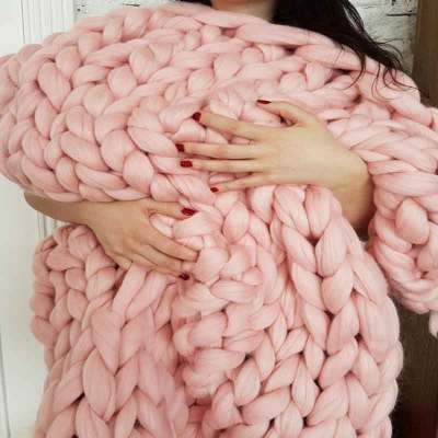 Acrylic Cilected Warm Soft Thick Line Warm Blankets Hand Weaving