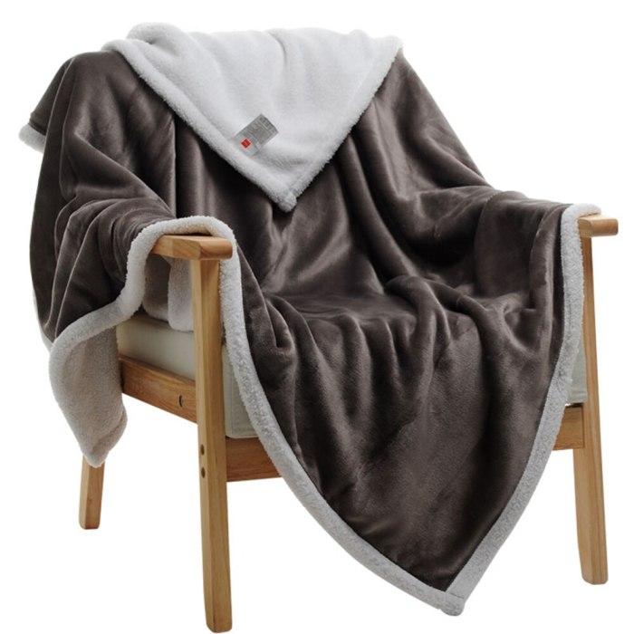 Winter Wool  Soft Sheep Velvet Flannel Plush Throw Blanket
