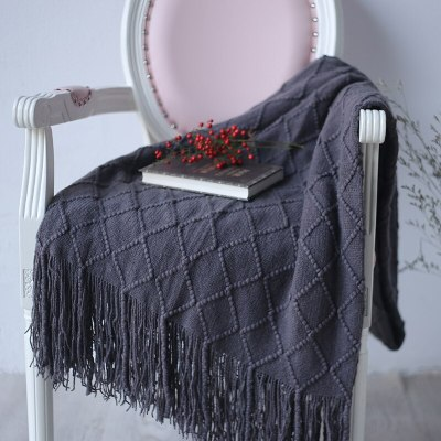 Solid Color Lattice Knitted Blankets Tassel Sofa Blanket Cover Blanket