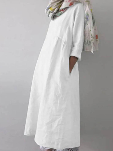 Linen Dress Half Sleeve Sundress Fashion Female Shirts Dress
