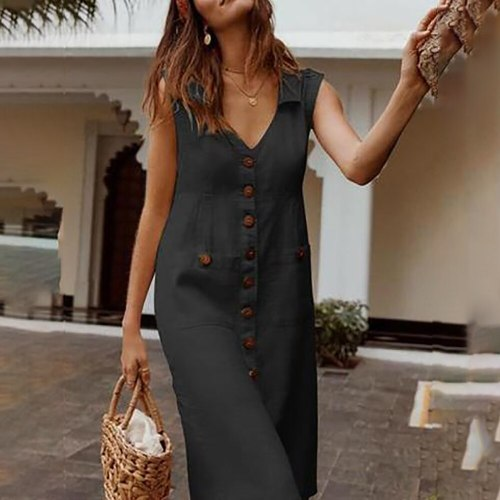 Boho Style V-Neck Waist Casual Solid Color Sleeveless V Neck Pockets Midi Dress